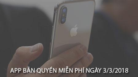 app ban quyen mien phi ngay 3 3 2018 cho iphone ipad