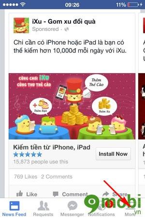 Đang xuat tai khoan Facebook Messenger tren iPhone