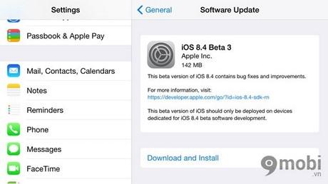 cap nhat iOS 8.4 beta 3 cho iPhone 6 plus, 6, ip 5s, 5, 4s