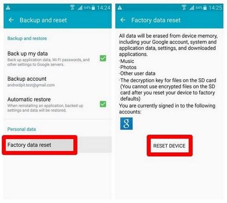 khoi phuc cai dat goc tren Galaxy S6