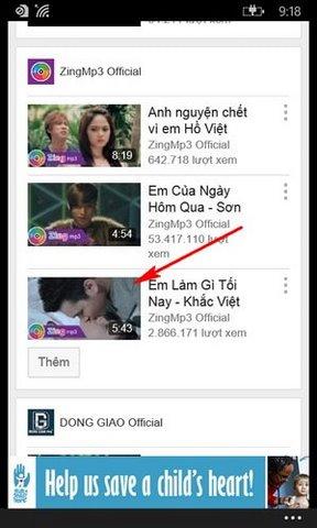 tai video Youtube tren Windows Phone