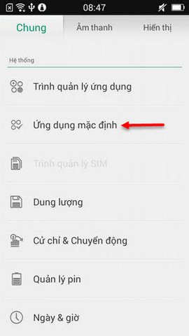 thay doi ung dung mac dinh tren oppo