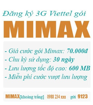 dang ky 3g viettel goi mimax