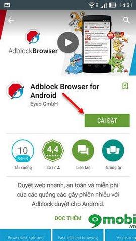 Cài Adblock Browser trên Zenfone, Setup trình duyệt web Adblock cho Zenfone