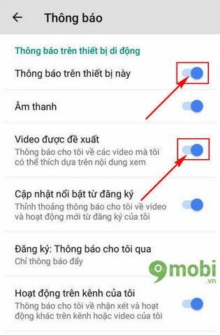 tat thong bao de xuat video youtube cho android