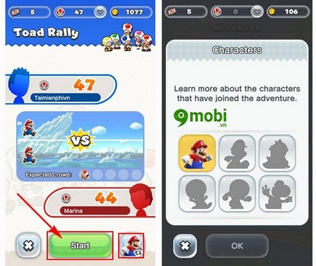 choi toad rally trong super mario run