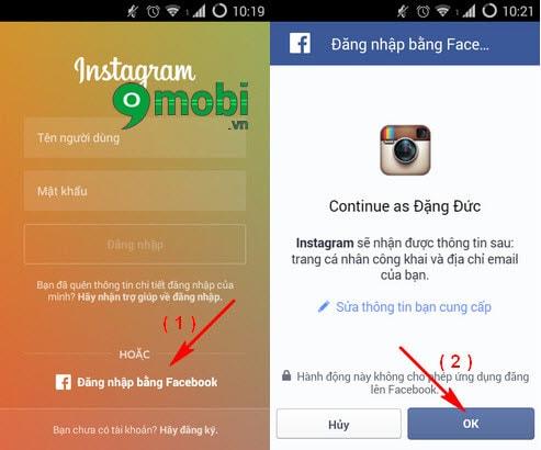 dang nhap instagram bang facebook