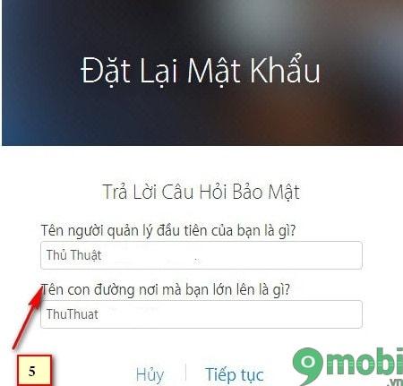 cach lay lai mat khau icloud bang cau hoi bao mat