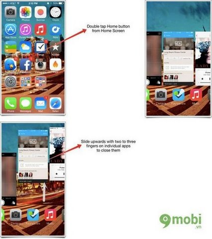 multitasking close multiple apps ios 7 tren iphone 5, 4s, 4