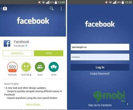 Facebook mobile Register on