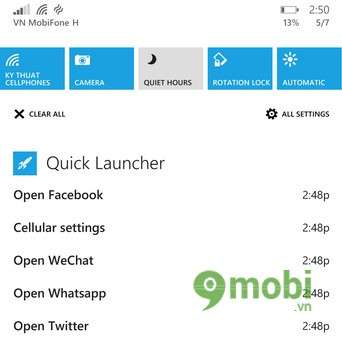 Windows Phone 8.1 - Features quick access to your mobile network settings (Quick Launcher)