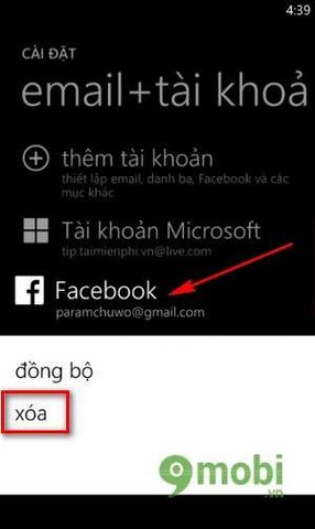 Delete contacts Facebook on Windows Phone