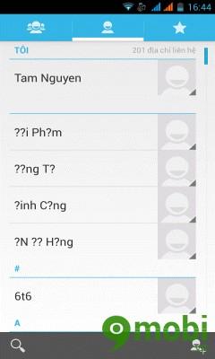 cách làm hiển thị danh bạ trên sim trên điện thoại Wing VN50
