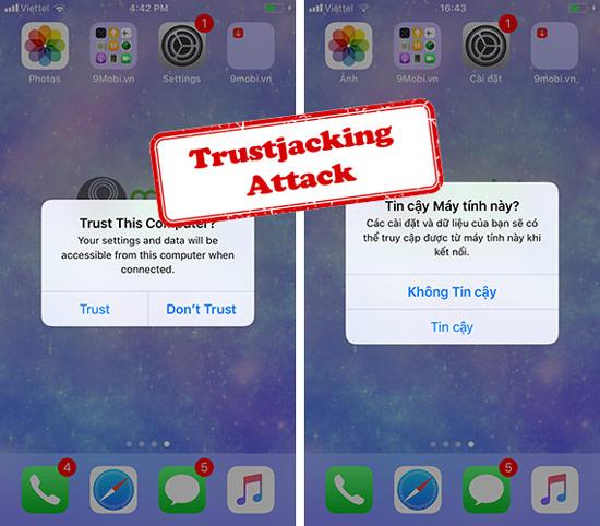 iphone ipad co the bi hacker tan cong qua ket noi trust this computer tin cay may tinh nay