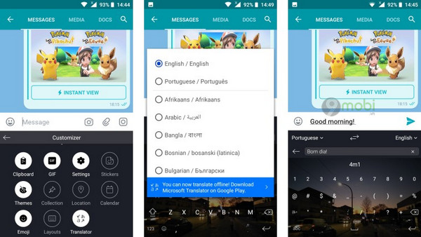 swiftkey cho android da co the dich van ban