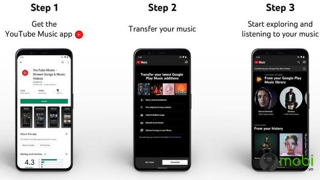 youtube music cho phep upload toan bo thu vien nhac tu google play music