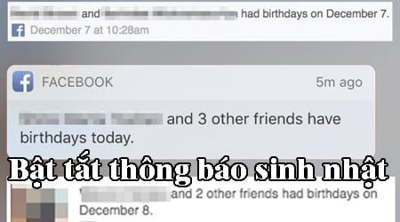 bat tat thong bao sinh nhat minh tren facebook tu dien thoai