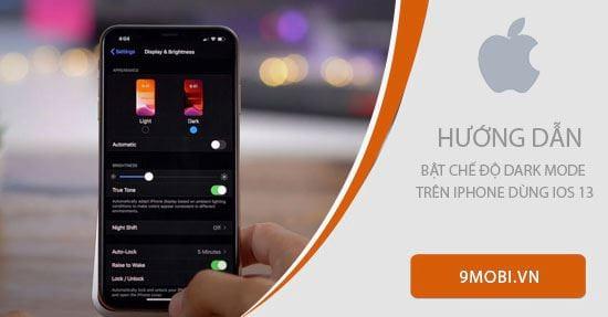 cach bat che do dark mode tren iphone dung ios 13