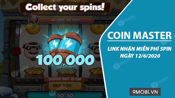 Link nhận miễn phí Spin Coin Master ngày 12/6/2020