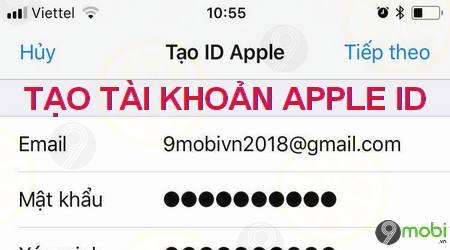 cach tao id apple bang iphone