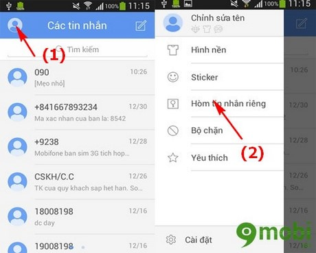 cach an tin nhan tren Android