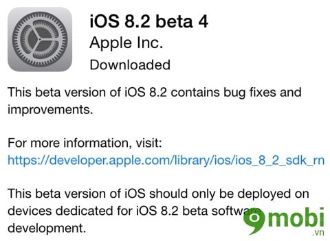 ra mắt iOS 8.2 beta 4 cua phone 6 plus, 6, ip 5s, 5, 4s, 4