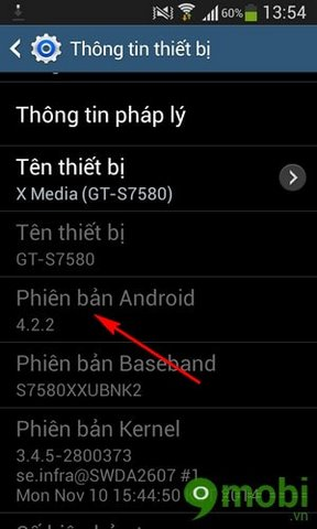 cach xem phien ban Android