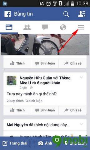 chan nick Facebook tren dien thoai