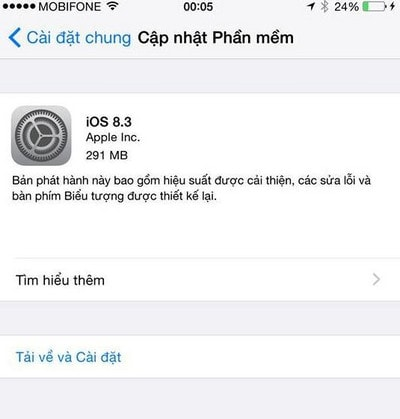 tai iOS 8.3 cho iPhone 6 plus, 6, ip 5s, 5, 4s