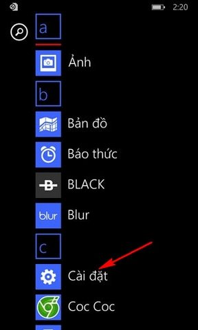 bat dinh vi tren Windows Phone