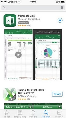 tai excel cho iphone