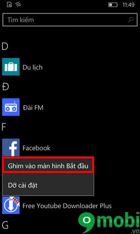 ghim ung dung winphone