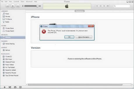 sua loi 27 khi Restore iPhone 5s bang iTunes