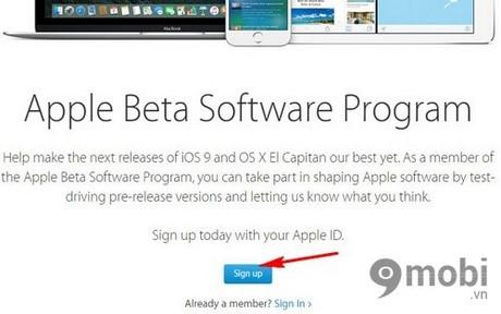 iOS 9 public beta tren iPhone 6 plus, 6, ip 5s, 5, 4s