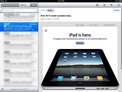 fix loi gui mail ipad