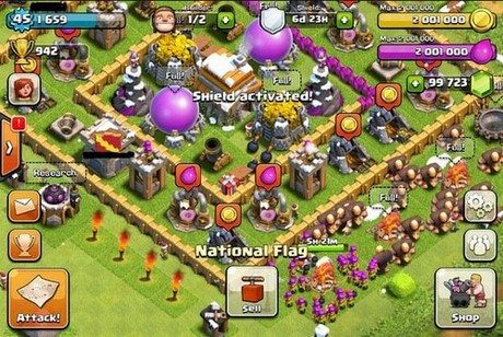 cach cay tien trong game clash of clans