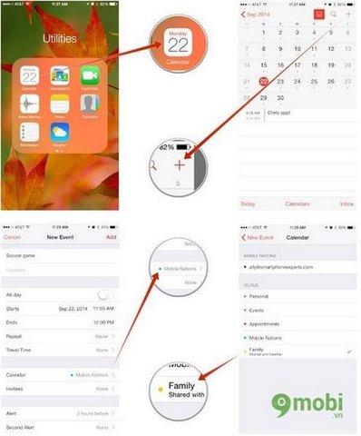 dung chuc nang family sharing tren ios8 dien thoai iphone 6 plus, 6, ip 5s, 5, 4s