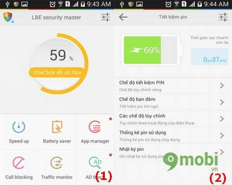 tiet kiem pin voi LBE Security Master for Android