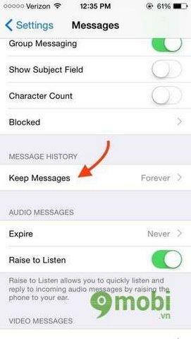 Cách xóa tin nhắn tự động trên iPhone 6 plus, 6, ip 5s, 5, 4s iOS 8