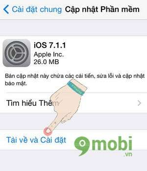 Cap nhat iOS 7.1.1 cho iPhone, iPad, iPod