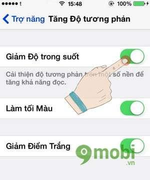 Giảm độ trong suốt và điểm trắng giúp iOS 7 trên iPhone 5, 4s, 4 dễ qu